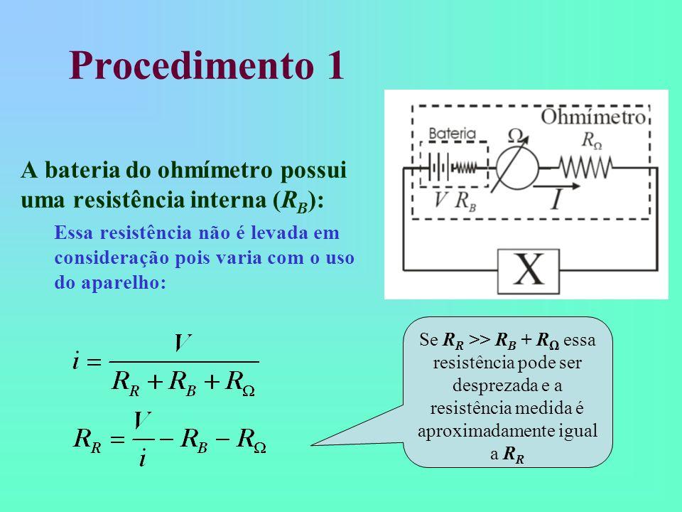 Procedimento 1 A bateria do ohmímetro possui uma resistência interna (R B ): Essa resistência não é levada em consideração pois varia com o uso do apa
