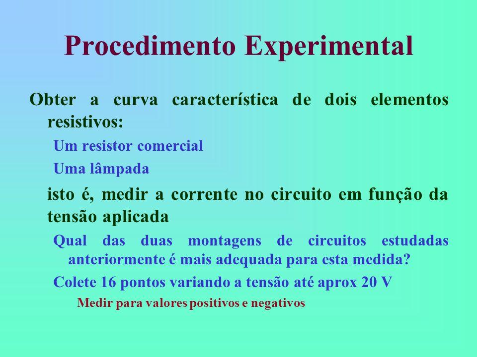 Procedimento Experimental Obter a curva característica de dois elementos resistivos: Um resistor comercial Uma lâmpada isto é, medir a corrente no cir