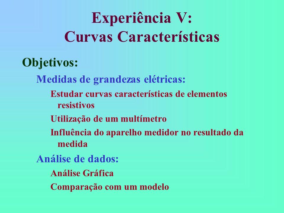 Experiência V: Curvas Características Objetivos: Medidas de grandezas elétricas: Estudar curvas características de elementos resistivos Utilização de