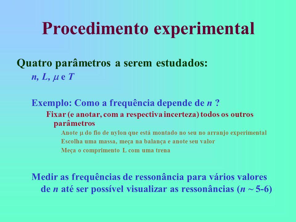 Procedimento experimental Em seguida, cada grupo varie os valores para o parâmetro T (ou seja, os valores de massa) Estudar como a frequência do segundo modo de vibração (n=2) depende deste parâmetro Não esqueça de manter fixos os outros parâmetros (anote os respectivos valores e incertezas) Fazer 6-7 medidas, variando este parâmetro Olhem a apostila para os cuidados a serem tomados para este parâmetro Anote o valor da massa do suporte de massas