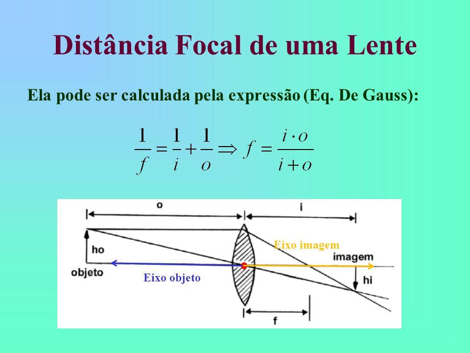 Distância Focal de uma Lente Ela pode ser calculada pela expressão (Eq.
