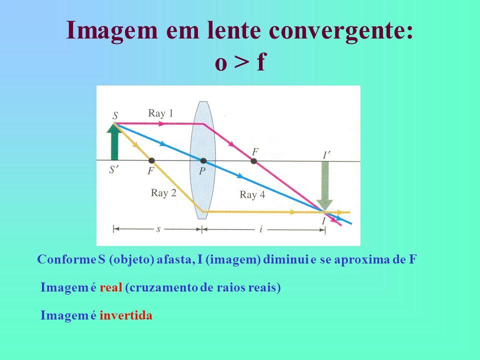 Imagem em lente convergente: o > f Conforme S (objeto) afasta, I (imagem) diminui e se aproxima de F Imagem é real (cruzamento de raios reais) Imagem é invertida