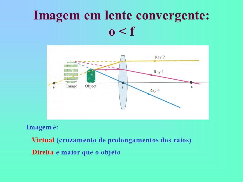 Imagem em lente convergente: o < f Imagem é: Virtual (cruzamento de prolongamentos dos raios) Direita e maior que o objeto