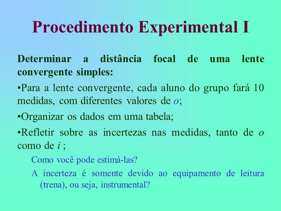 Procedimento Experimental I Determinar a distância focal de uma lente convergente simples: Para a lente convergente, cada aluno do grupo fará 10 medidas, com diferentes valores de o; Organizar os dados em uma tabela; Refletir sobre as incertezas nas medidas, tanto de o como de i ; Como você pode estimá-las.