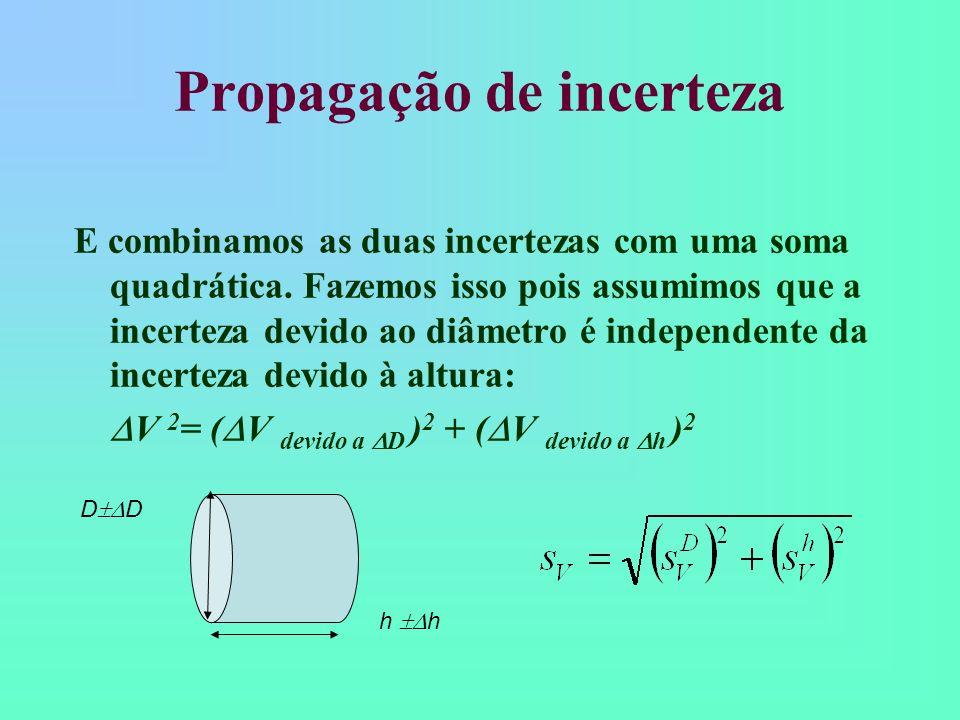 Propagação de incerteza E combinamos as duas incertezas com uma soma quadrática.