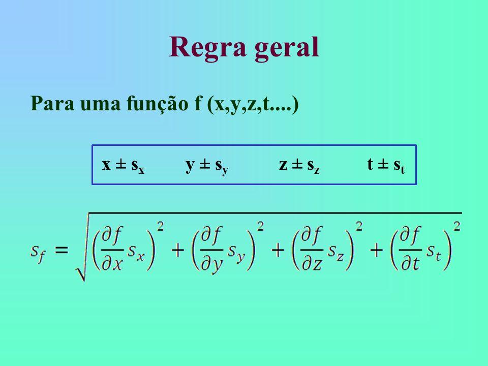Regra geral Para uma função f (x,y,z,t....) x ± s x y ± s y z ± s z t ± s t
