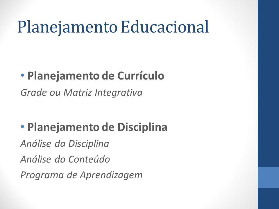 Planejamento Educacional Planejamento de Currículo Grade ou Matriz Integrativa Planejamento de Disciplina Análise da Disciplina Análise do Conteúdo Pr