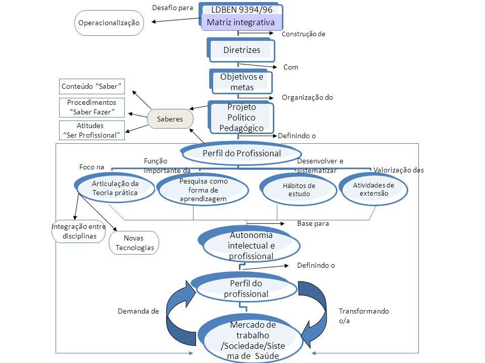 LDBEN 9394/96 Matriz interativa Diretrizes Objetivos e metas Projeto Politico Pedagógico Perfil do Profissional Articulação da Teoria prática Pesquisa