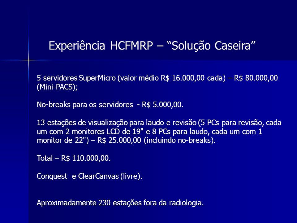 Experiência HCFMRP – Solução Caseira 5 servidores SuperMicro (valor médio R$ 16.000,00 cada) – R$ 80.000,00 (Mini-PACS); No-breaks para os servidores