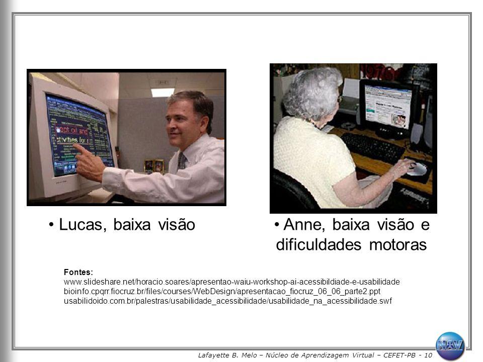 Lafayette B. Melo – Núcleo de Aprendizagem Virtual – CEFET-PB - 10 Lucas, baixa visão Anne, baixa visão e dificuldades motoras Fontes: www.slideshare.