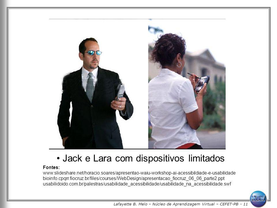 Lafayette B. Melo – Núcleo de Aprendizagem Virtual – CEFET-PB - 11 Jack e Lara com dispositivos limitados Fontes: www.slideshare.net/horacio.soares/ap