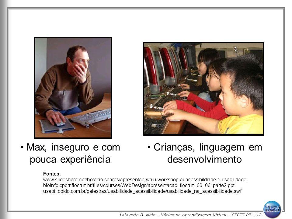 Lafayette B. Melo – Núcleo de Aprendizagem Virtual – CEFET-PB - 12 Max, inseguro e com pouca experiência Crianças, linguagem em desenvolvimento Fontes