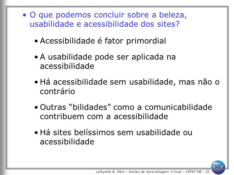 Lafayette B. Melo – Núcleo de Aprendizagem Virtual – CEFET-PB - 32 O que podemos concluir sobre a beleza, usabilidade e acessibilidade dos sites? Aces