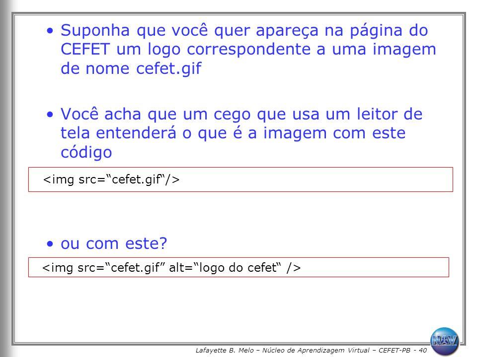 Lafayette B. Melo – Núcleo de Aprendizagem Virtual – CEFET-PB - 40 Suponha que você quer apareça na página do CEFET um logo correspondente a uma image