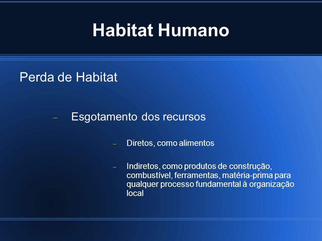 Habitat Humano Perda de Habitat Esgotamento dos recursos Diretos, como alimentos Indiretos, como produtos de construção, combustível, ferramentas, mat