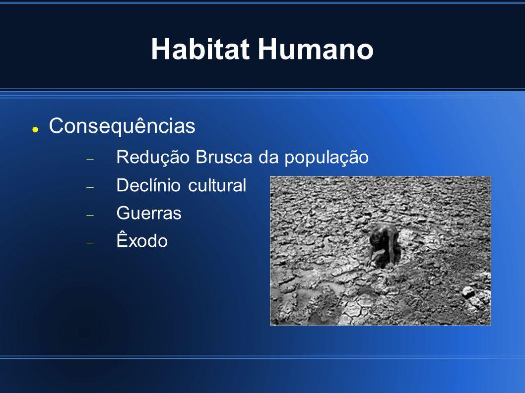 Habitat Humano Consequências Redução Brusca da população Declínio cultural Guerras Êxodo