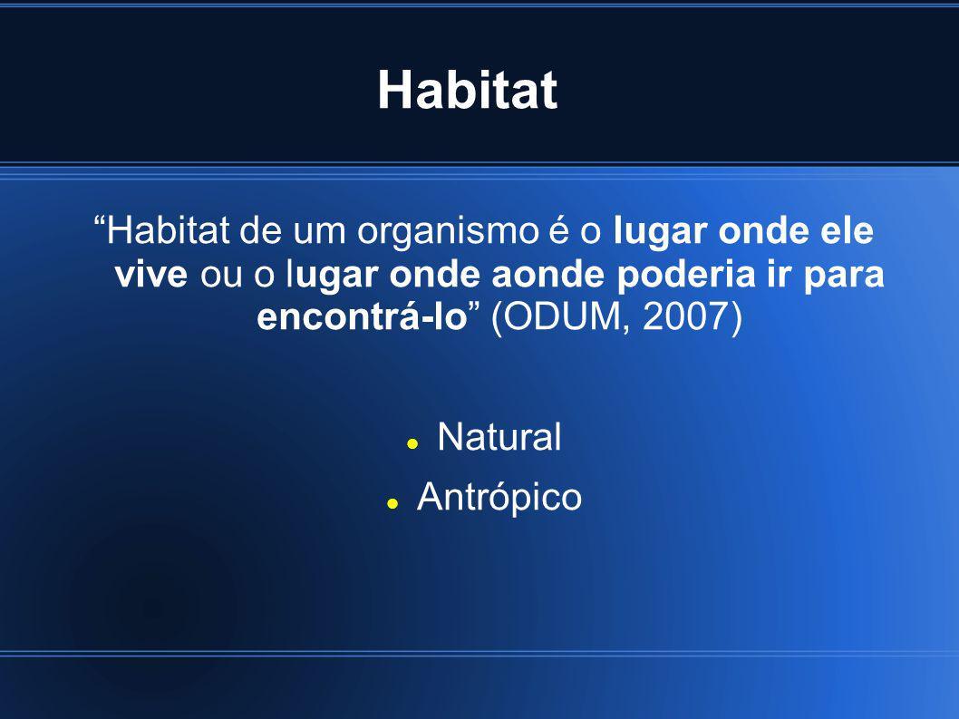 Habitat Habitat de um organismo é o lugar onde ele vive ou o lugar onde aonde poderia ir para encontrá-lo (ODUM, 2007) Natural Antrópico