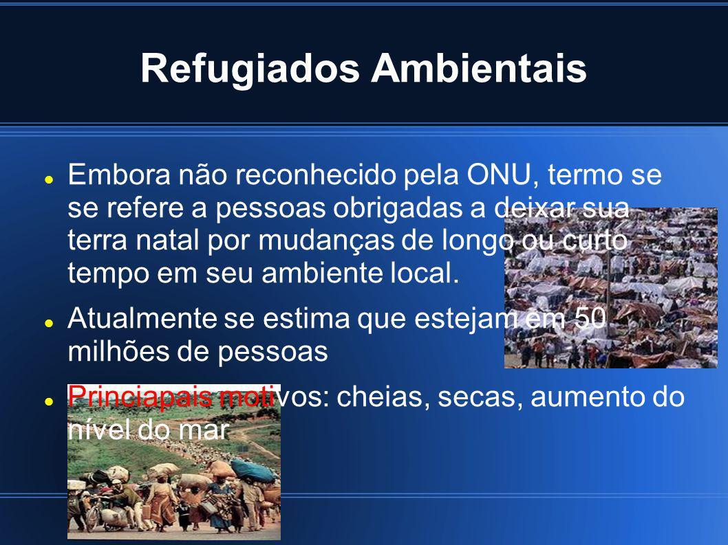 Refugiados Ambientais Embora não reconhecido pela ONU, termo se se refere a pessoas obrigadas a deixar sua terra natal por mudanças de longo ou curto