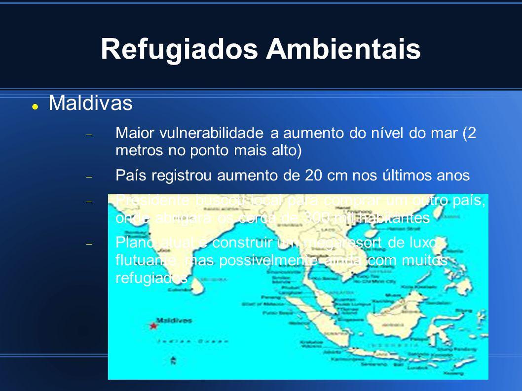 Refugiados Ambientais Maldivas Maior vulnerabilidade a aumento do nível do mar (2 metros no ponto mais alto) País registrou aumento de 20 cm nos últim