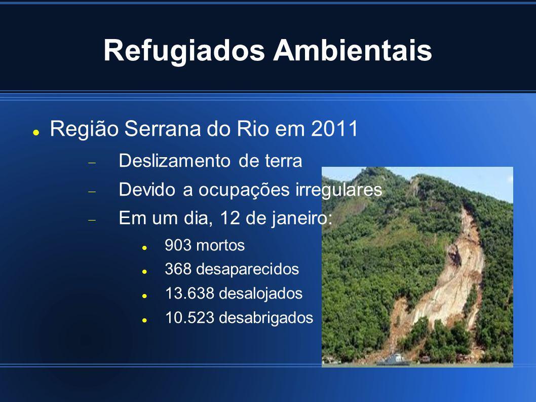 Refugiados Ambientais Região Serrana do Rio em 2011 Deslizamento de terra Devido a ocupações irregulares Em um dia, 12 de janeiro: 903 mortos 368 desa