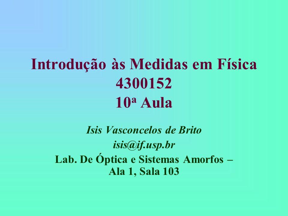 Introdução às Medidas em Física 4300152 10 a Aula Isis Vasconcelos de Brito isis@if.usp.br Lab. De Óptica e Sistemas Amorfos – Ala 1, Sala 103