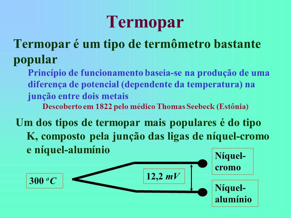 Termopar Termopar é um tipo de termômetro bastante popular Princípio de funcionamento baseia-se na produção de uma diferença de potencial (dependente