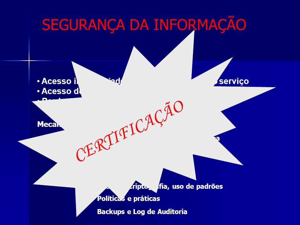 Segurança e Confidencialidade Acesso inapropriado por usuário do próprio serviço Acesso de usuários não autorizados Perda ou adulteração de informação