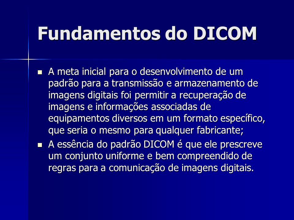 Fundamentos do DICOM A meta inicial para o desenvolvimento de um padrão para a transmissão e armazenamento de imagens digitais foi permitir a recupera