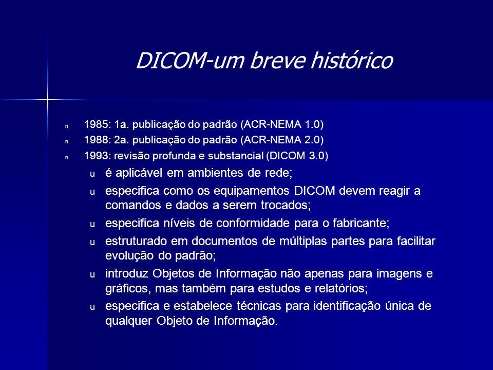 DICOM-um breve histórico n 1985: 1a. publicação do padrão (ACR-NEMA 1.0) n 1988: 2a. publicação do padrão (ACR-NEMA 2.0) n 1993: revisão profunda e su