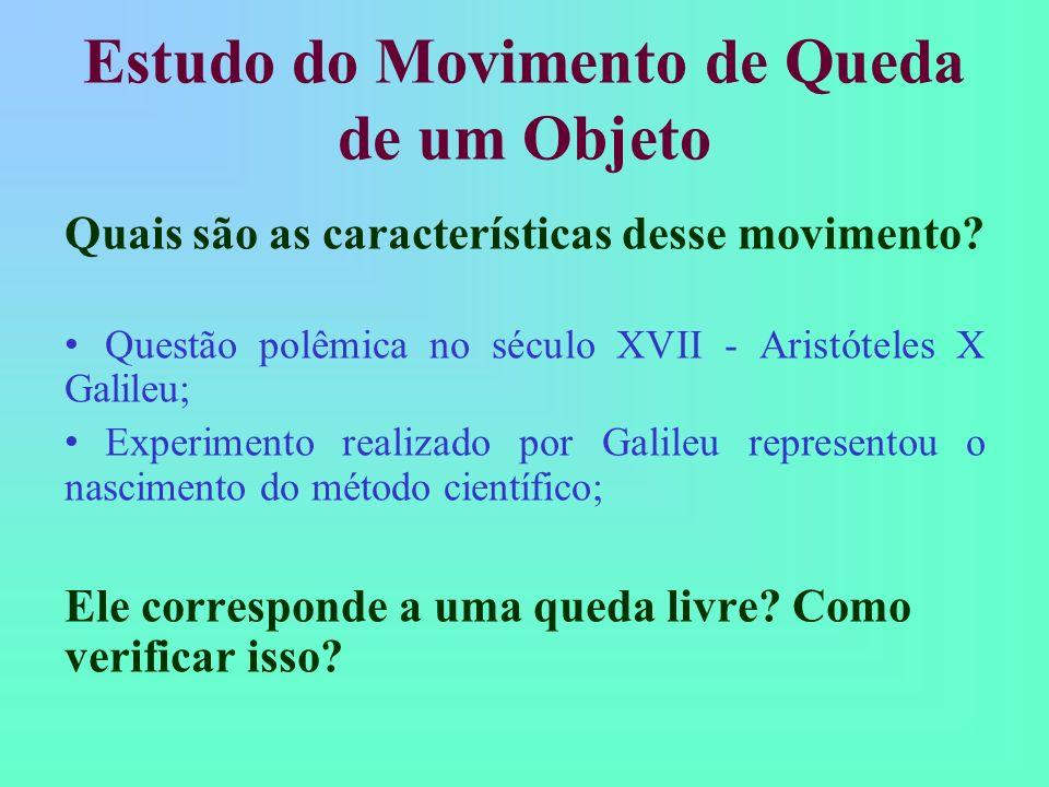 Estudo do Movimento de Queda de um Objeto Realizar a medida do movimento de um corpo em queda: Tomar todos os cuidados experimentais necessários para