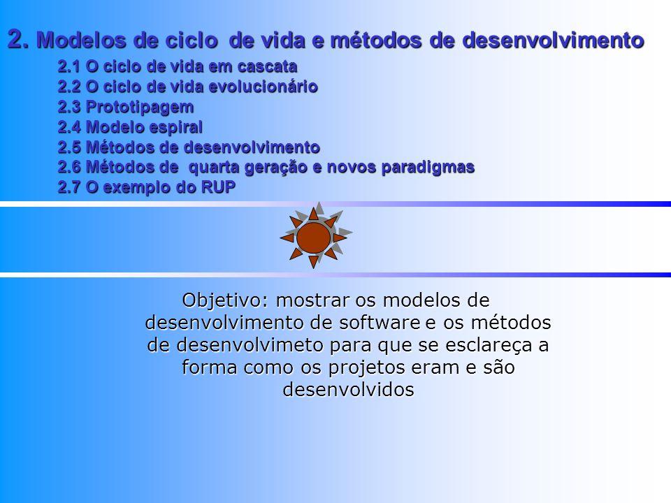 2. Modelos de ciclo de vida e métodos de desenvolvimento 2.1 O ciclo de vida em cascata 2.2 O ciclo de vida evolucionário 2.3 Prototipagem 2.4 Modelo
