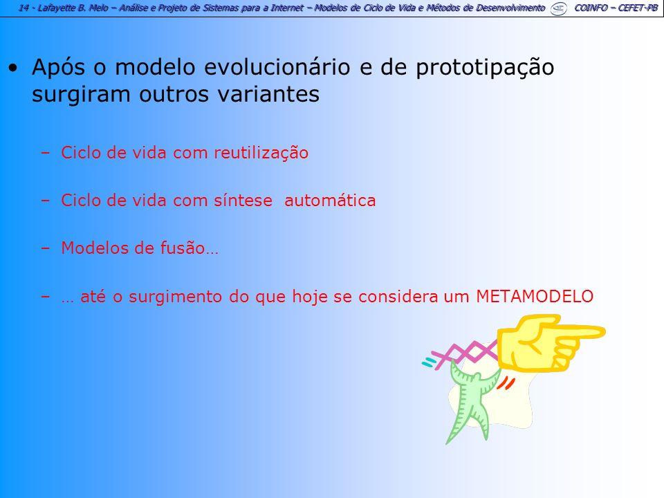 14 - Lafayette B. Melo – Análise e Projeto de Sistemas para a Internet – Modelos de Ciclo de Vida e Métodos de Desenvolvimento COINFO – CEFET-PB Após