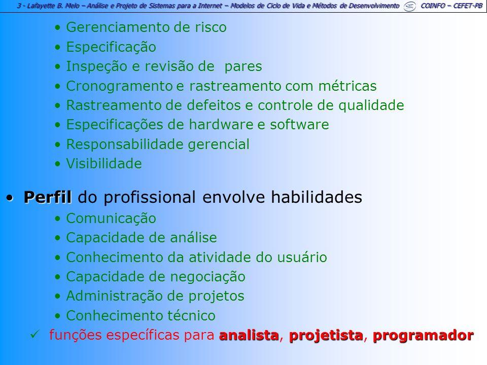 3 - Lafayette B. Melo – Análise e Projeto de Sistemas para a Internet – Modelos de Ciclo de Vida e Métodos de Desenvolvimento COINFO – CEFET-PB Gerenc