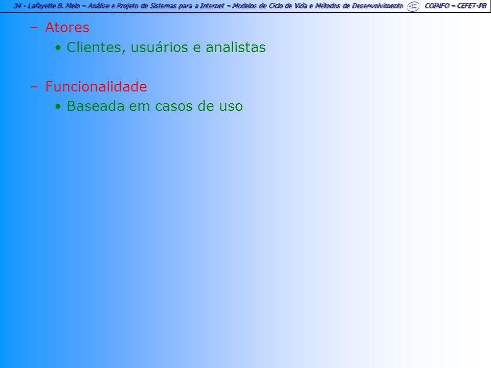34 - Lafayette B. Melo – Análise e Projeto de Sistemas para a Internet – Modelos de Ciclo de Vida e Métodos de Desenvolvimento COINFO – CEFET-PB –Ator