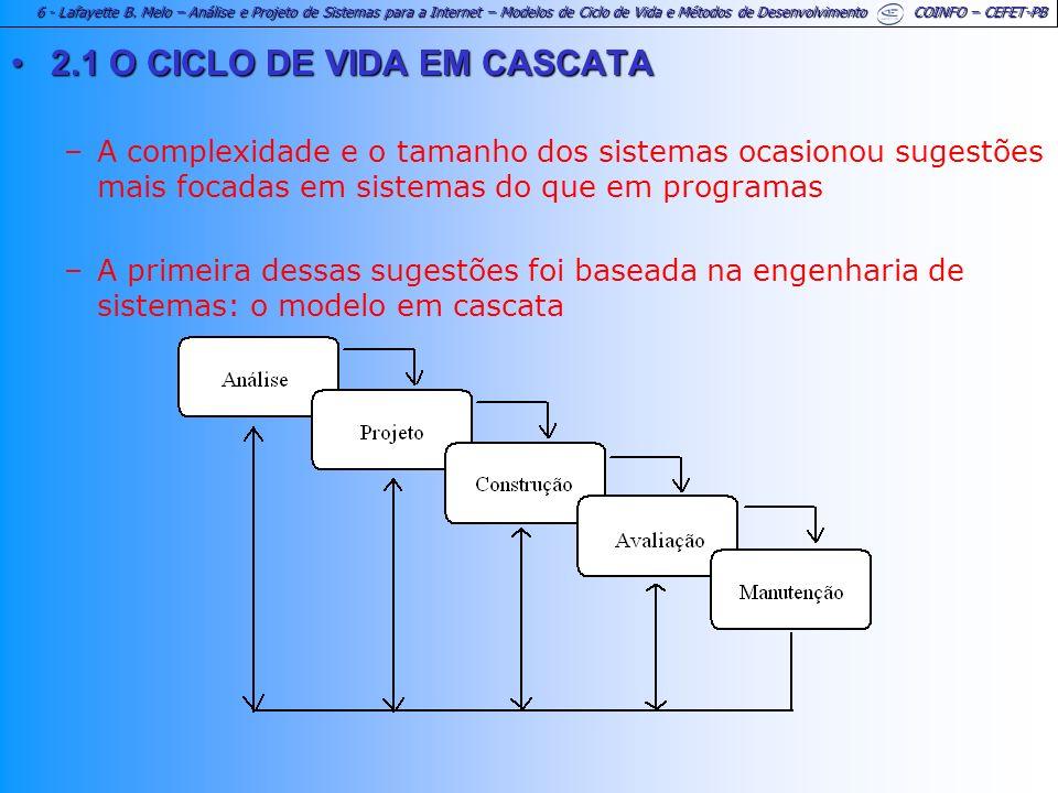 6 - Lafayette B. Melo – Análise e Projeto de Sistemas para a Internet – Modelos de Ciclo de Vida e Métodos de Desenvolvimento COINFO – CEFET-PB 2.1 O
