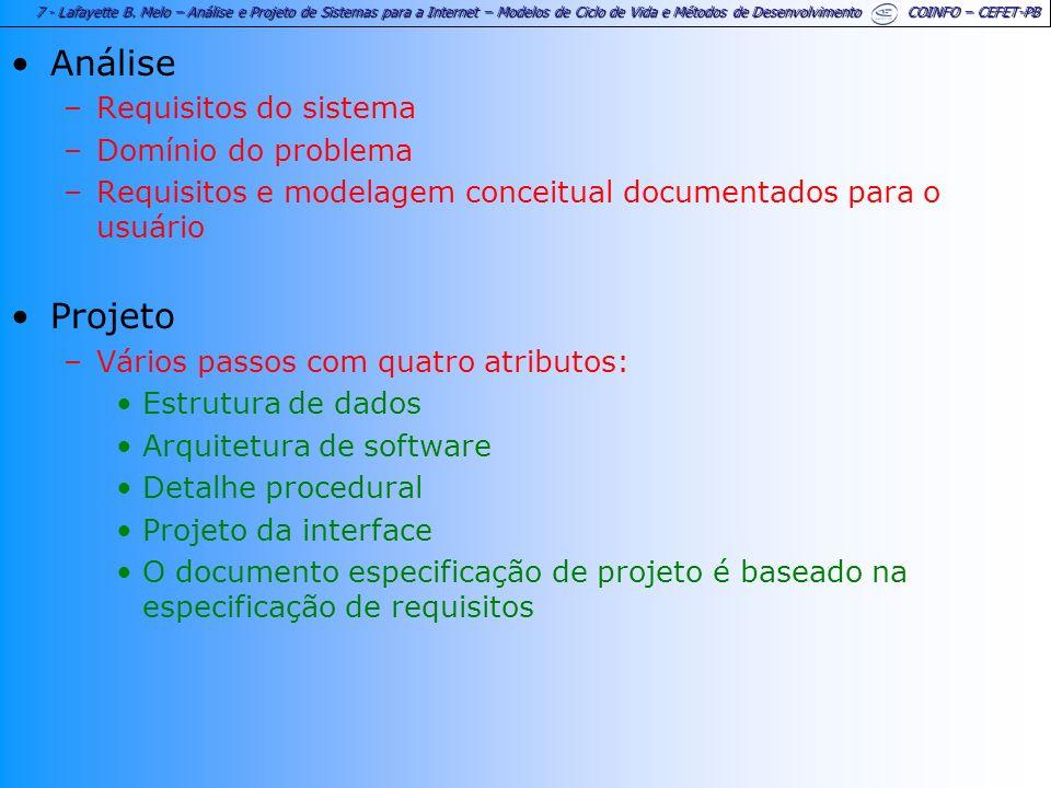 7 - Lafayette B. Melo – Análise e Projeto de Sistemas para a Internet – Modelos de Ciclo de Vida e Métodos de Desenvolvimento COINFO – CEFET-PB Anális