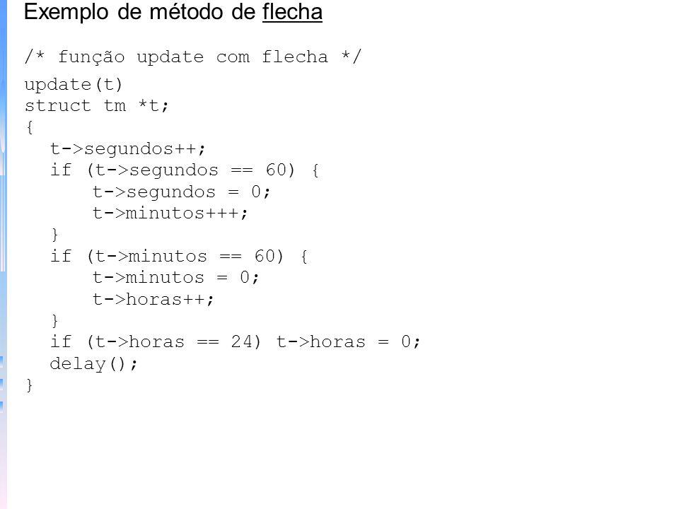 update(t) struct tm *t; { (*t).segundos++; if ((*t).segundos == 60) { (*t).segundos = 0; (*t).minutos++; } if ((*t).minutos == 60) { (*t).minutos = 0;