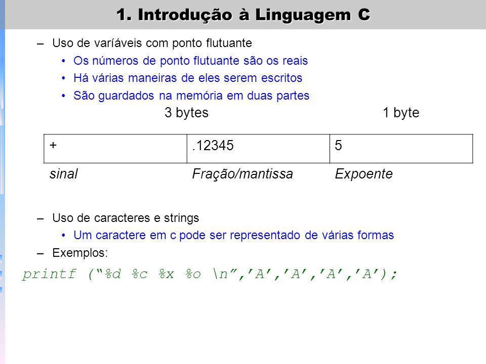 1. Introdução à Linguagem C –Exemplo: (Qual é a saída?) main() { int evento=5; char corrida=C; float tempo=27.25; printf (o tempo na etapa %c,corrida)