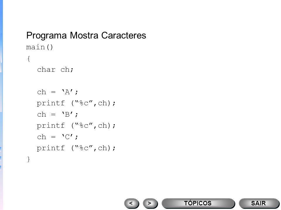 Blocos de código if (x < 10) { printf (muito baixo, tente de novo); scanf (%d,&x); } TÓPICOS > > < < SAIR