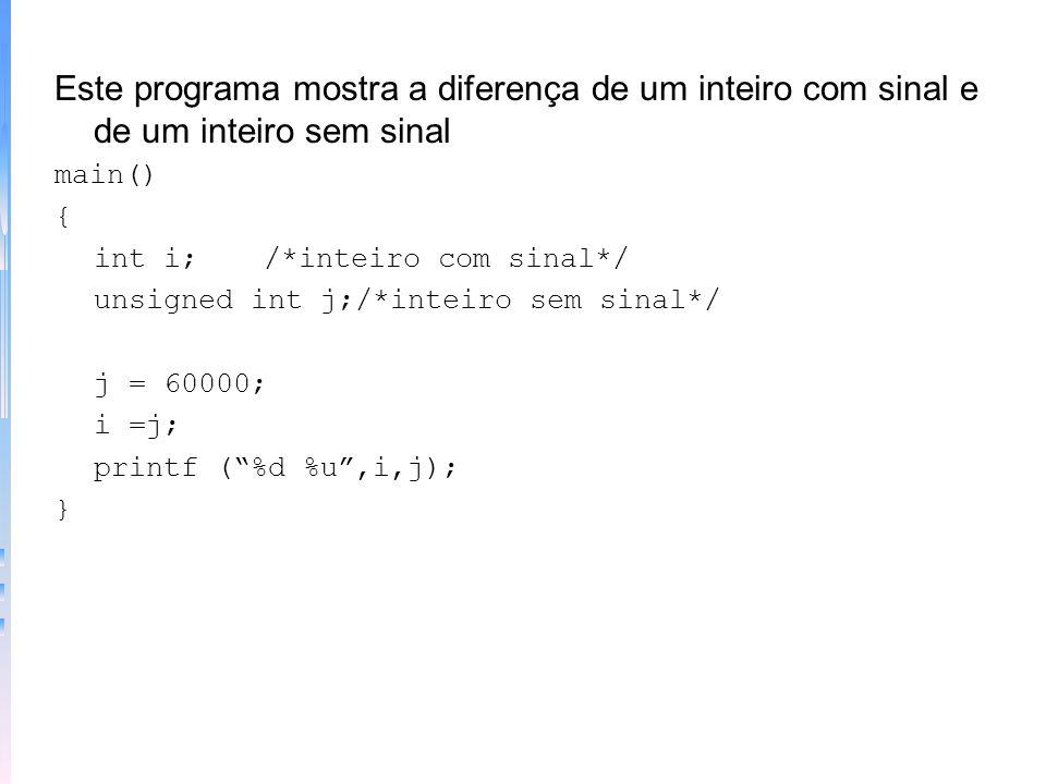 TIPOEXTENSÃOESCALA char8-128 a 127 unsigned char80 a 255 signed char 88-128 a 127 int16-32768 a 32767 unsigned int160 a 65535 signed int16-32768 a 327