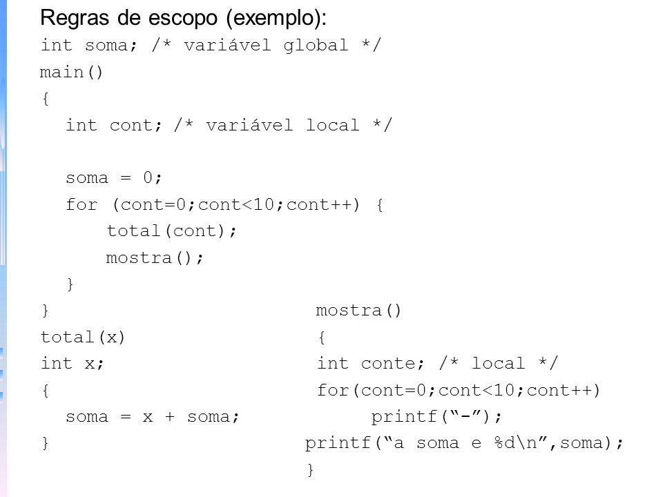 Variáveis –declaração: tipo lista_variáveis Ex.: int cont; –Regras de escopo: 1) fora de todas as funções; 2) dentro de uma função; 3) na declaração d
