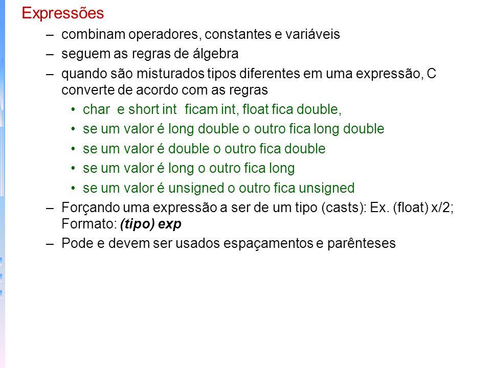 –De atribuição: = é permitido que seja utilizado com outros operadores x+=10; é o mesmo que x=x+10 posso usar operadores múltiplos: x=y=z=0; posso usa