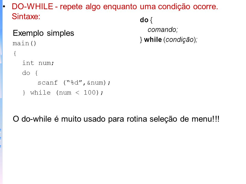 Exemplo simples main() { char str[255]; printf(digite uma sequencia: ); gets (str); center (strlen(str)); printf(str); } center(len) int len; { len =