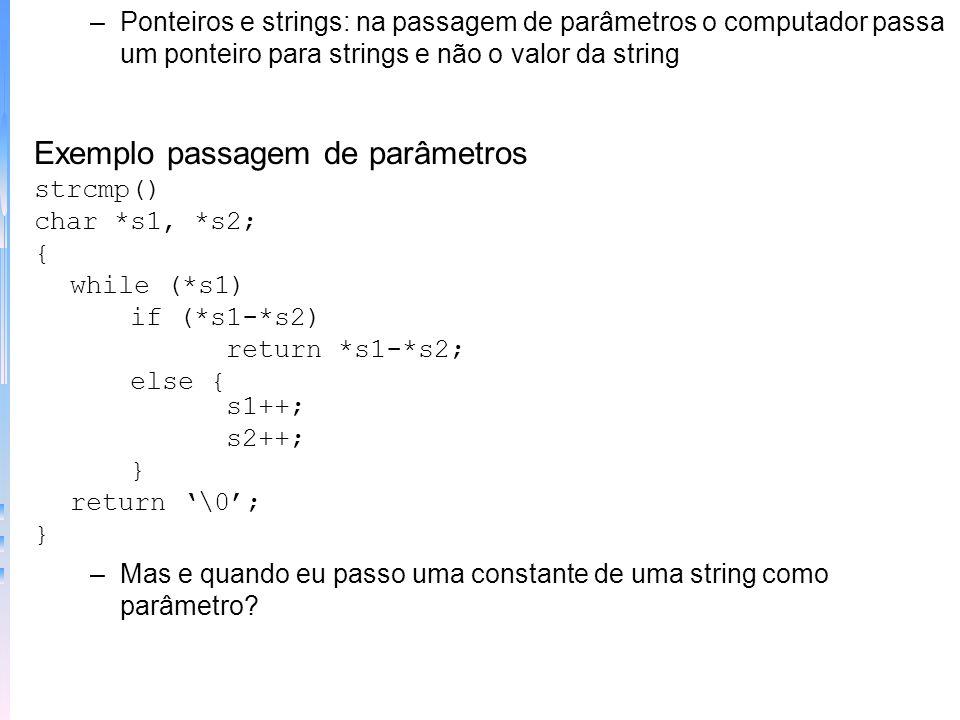 Exemplo pilha int pilha[50]; int *p1, *tos; main() { int valor; p1 = pilha; tos = p1; do { scanf (%d,&valor); if (valor != 0) push (valor); else print