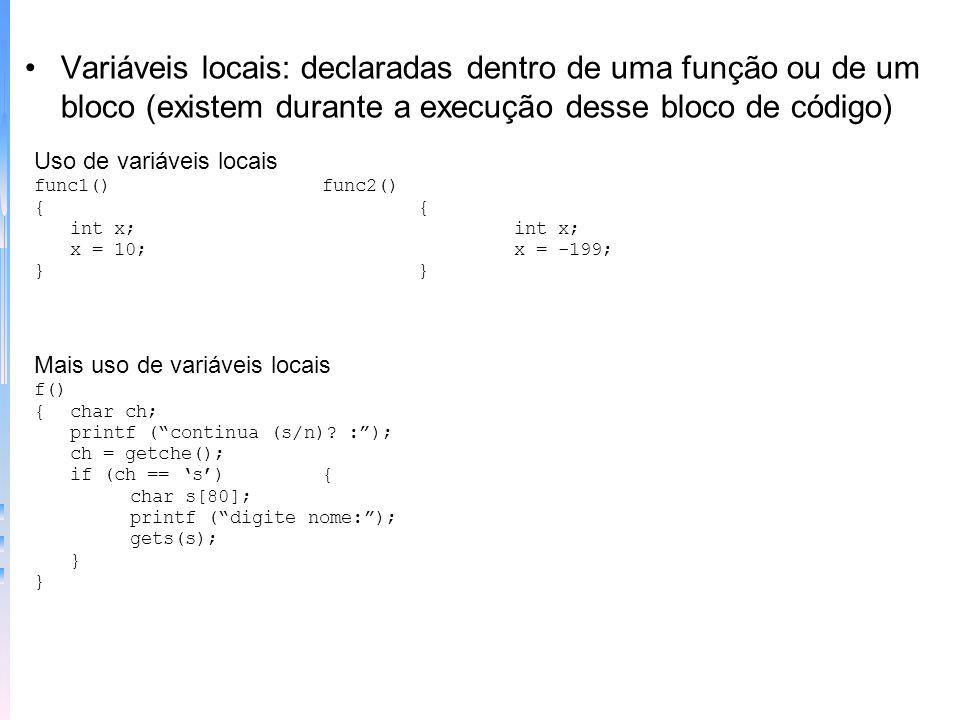 Uma função simples main() { clrscr(); linha(); printf(