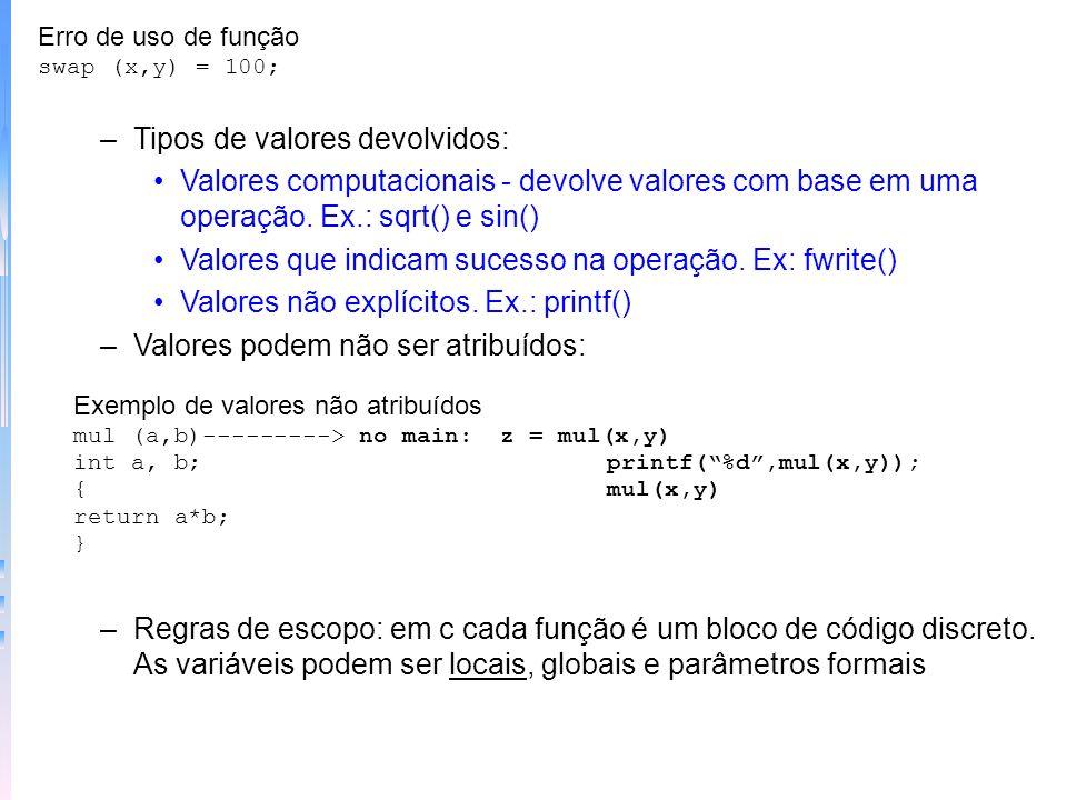 Passando valores por chamada – para passar dados para uma função, C usa argumentos e passagem por valores Exemplo passando constante main() { printf (
