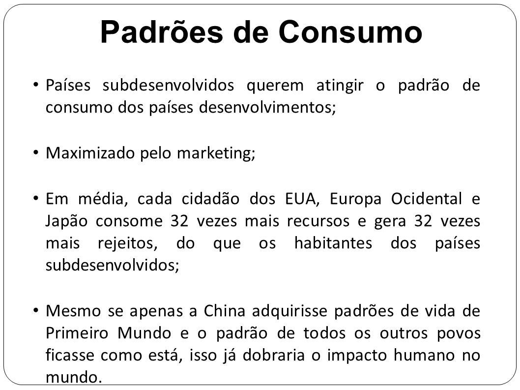 Padrões de Consumo Países subdesenvolvidos querem atingir o padrão de consumo dos países desenvolvimentos; Maximizado pelo marketing; Em média, cada c