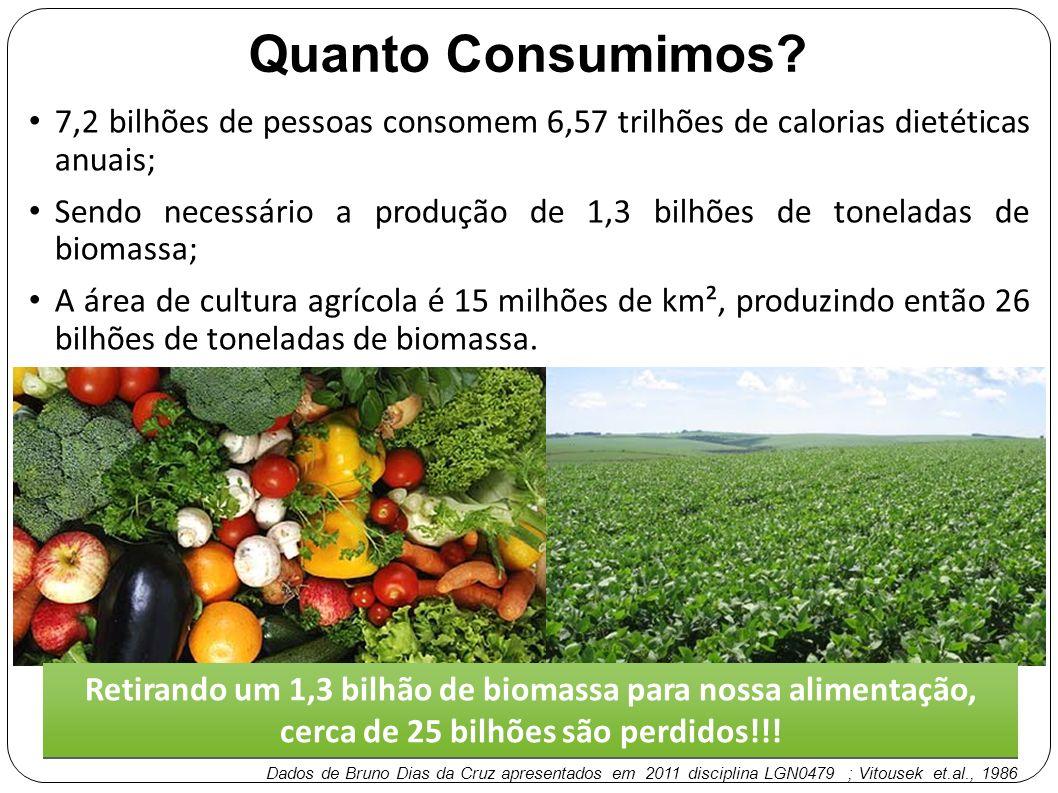 Quanto Consumimos? 7,2 bilhões de pessoas consomem 6,57 trilhões de calorias dietéticas anuais; Sendo necessário a produção de 1,3 bilhões de tonelada