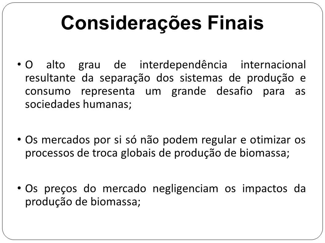 Considerações Finais O alto grau de interdependência internacional resultante da separação dos sistemas de produção e consumo representa um grande des