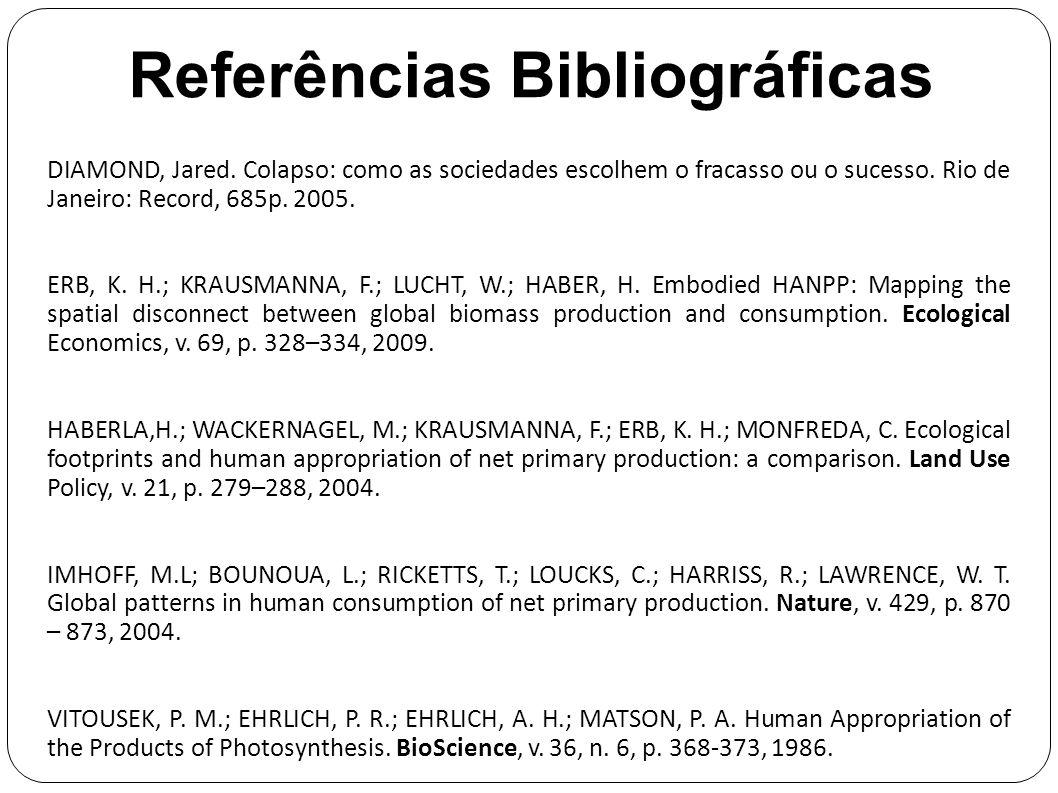 Referências Bibliográficas DIAMOND, Jared. Colapso: como as sociedades escolhem o fracasso ou o sucesso. Rio de Janeiro: Record, 685p. 2005. ERB, K. H